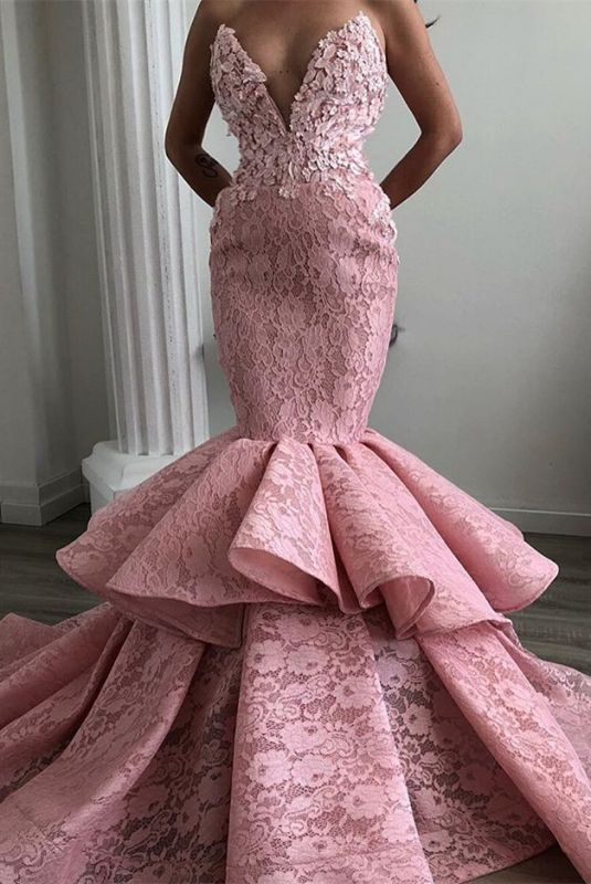 Stunning Sweetheart Mermaid Prom Dresses | 2020 Lace Ruffles Evening Gowns