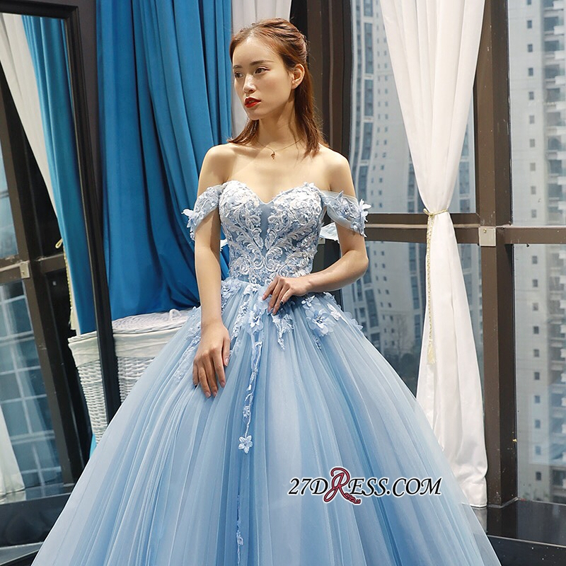 Off-the-shoulder Glorious Lace Appliques Prom Dresses