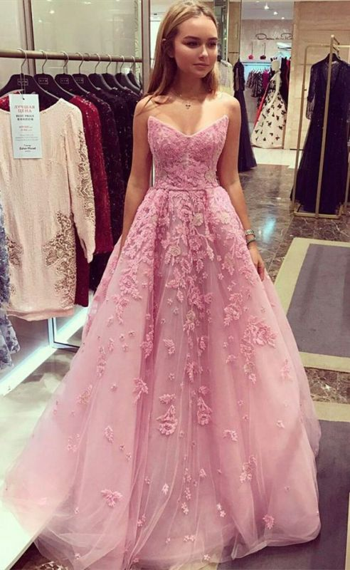 Tulle Appliques Prom Dress,, 2020 Long Evening Dress