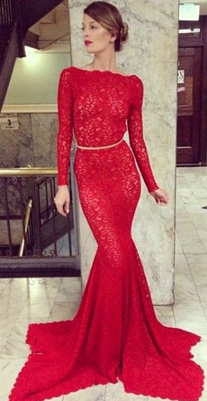 Backless Lace Mermaid Prom Dresses 2020 Bateau High Neck Long Sleeve Sheer Party Gowns with Court Train