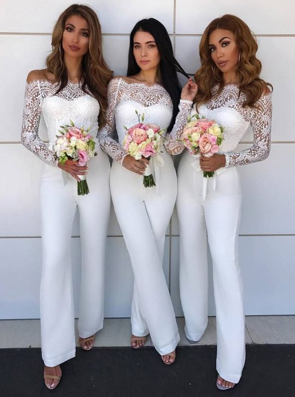 Charming Off-the-Shoulder Long Sleeves Bridesmaid Dress | Lace Appliques Jump Shirt On Sale BA8978