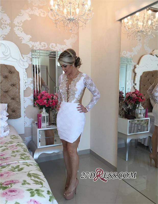 2020 Long-Sleeve Delicate Pearls Mini Lace Bodycon Short Homecoming Dress