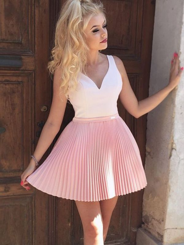 Modest Pink Straps Ruffles Sleeveless Homecoming Dress | Short Party Gown