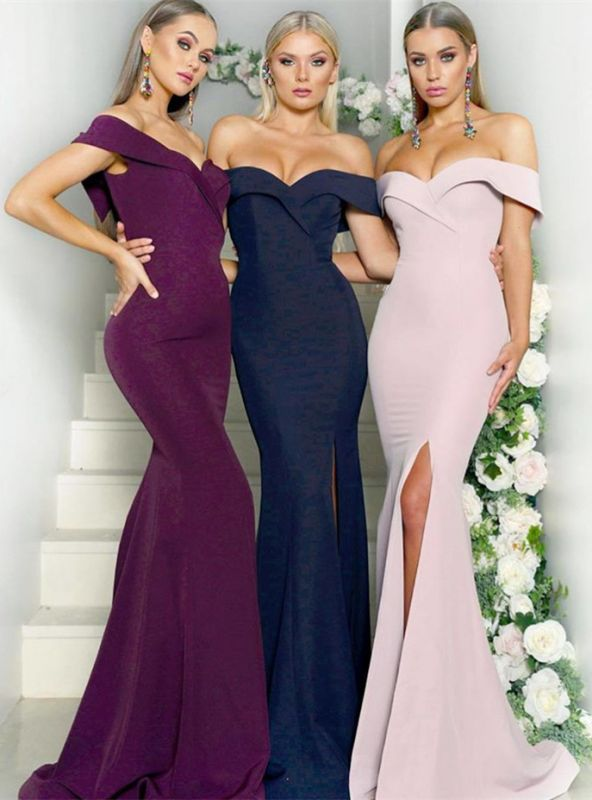 Charming Sweetheart Off-the-Shoulder Bridesmaid Dresses | Mermaid Maid of Hornor Dress With Split BM0810