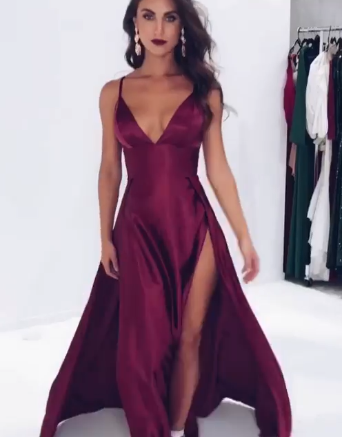 Elegant V-Neck Spaghetti-Straps Prom Dresses | 2020 Slit Long Evening Gowns BC1084