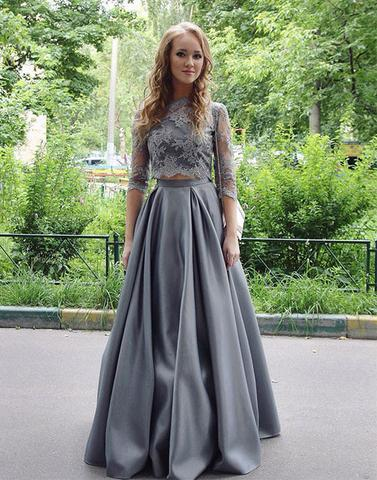 Elegant Scoop Gray Two-Pieces Lace Long Floor-length Half-sleeves 2020 Prom Dress