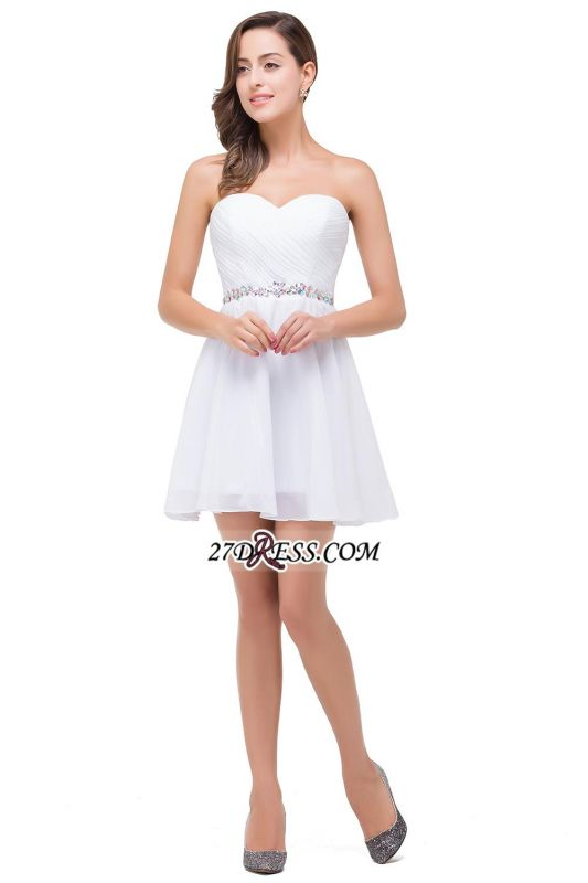 Short Sweetheart Chiffon White Elegant Crystal Homecoming Dress