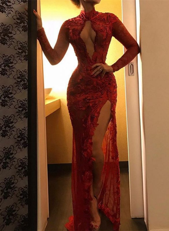 Sexy Red Lace Prom Dresses | 2020 Long Sleeve Slit Evening Gowns BC1358