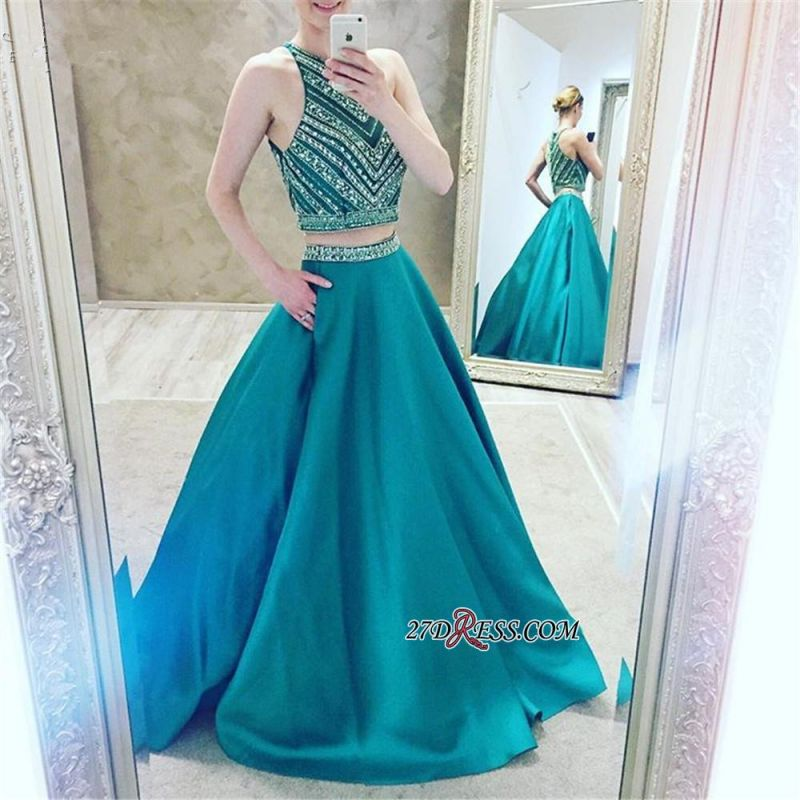 A-Line Two-Pieces Halter Luxury Crystal Sleeveless Prom Dress