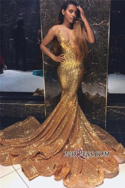 Cheap Spaghetti Straps Sequins Evening Dresses | Sexy Gold Sleeveless Mermaid Prom Dresses bk0 BC1492