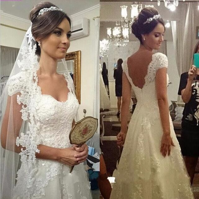 Glamorous Sweetheart Cap Sleeve Wedding Dress With Lace Appliques