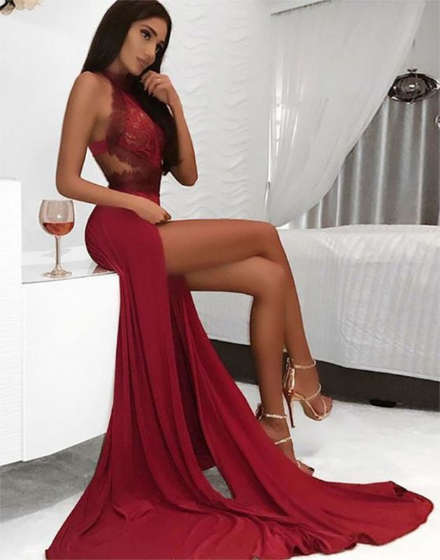 Sexy Red Halter Lace Evening Dress | 2020 Slit Prom Gowns On Sale BC0909