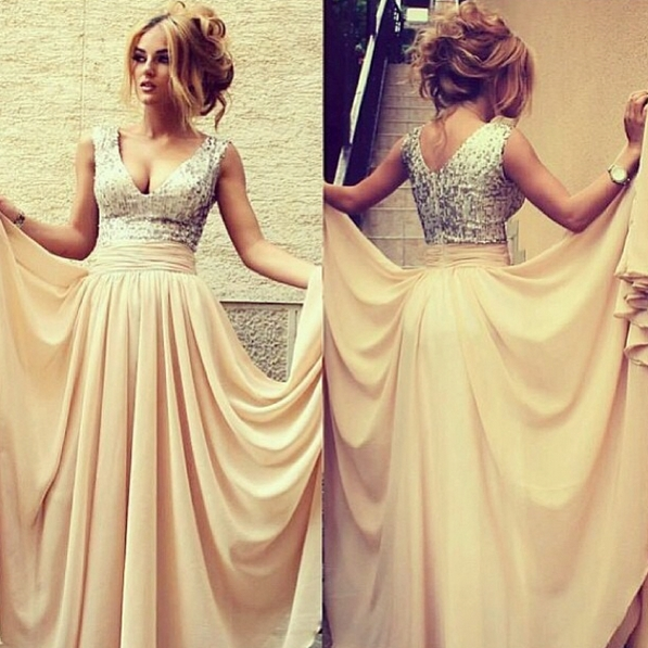 elegant long evening dresses 2020 v neck sequined nude chiffon prom gowns