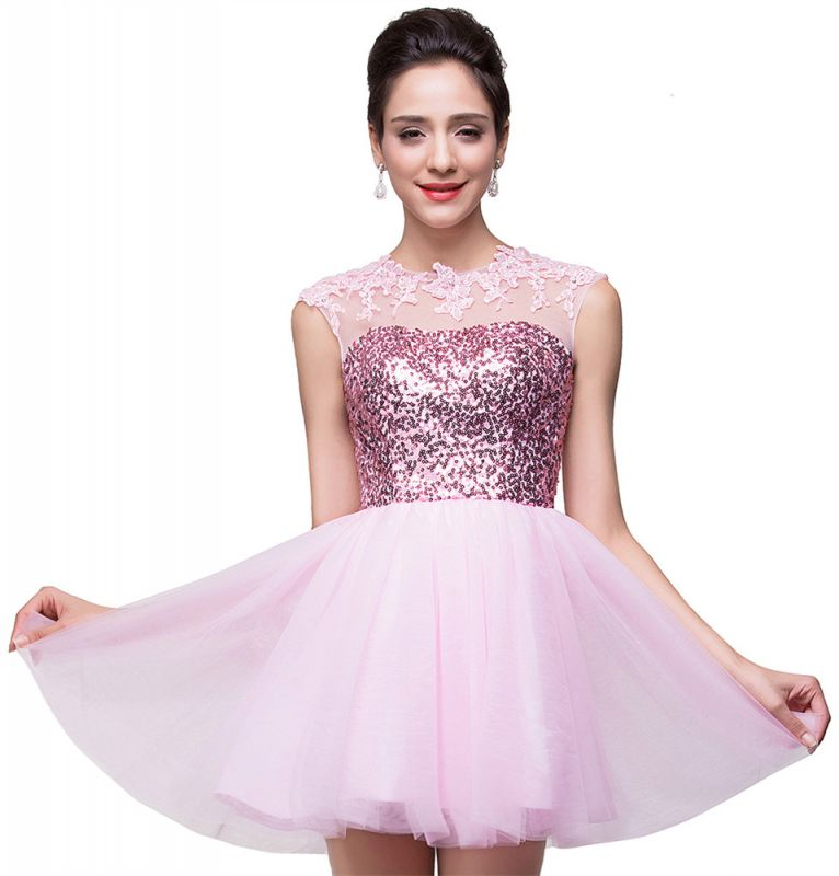 Cute Pink Sequins Sleeveless Homecoming Dress 2020 Tulle Short