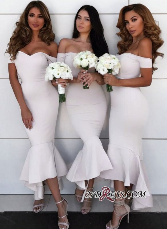 Simple Off-the-Shoulder Wedding Reception Dress | 2020 Bridesmaid Dresses Online BA9401