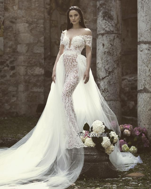 Lace Overskirt Charming Long Off-The-Shoulder Appliques Mermaid Bridal Gown