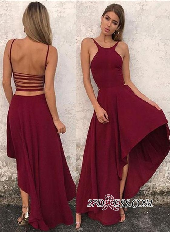 Backless A-line Hi-lo Attractive Scoop Prom Dresses