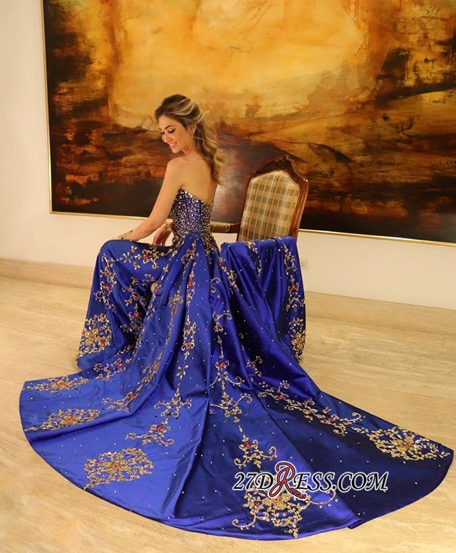 Gorgeous Sleeveless Applique Prom Gown | Strapless A-Line Long Prom Dress