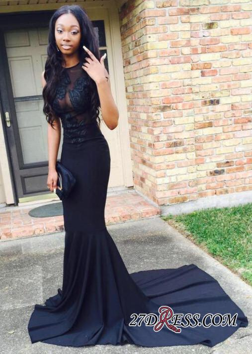 2020 Black Sweep-Train Sexy Mermaid Lace-Appliques Prom Dress BA4826 BK0