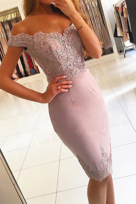 Elegant Off-the-Shoulder Short Prom Dress | 2020 Lace Mermaid Homecoming Dress