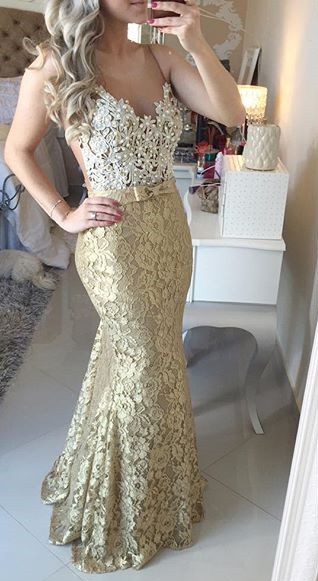 Modern Lace Appliques Mermaid 2020 Prom Dress Straps Sweep Train Bowknot