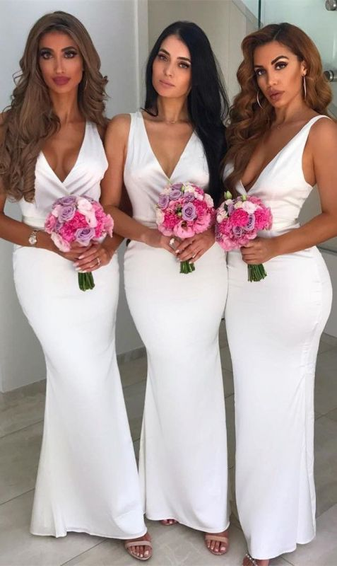 Glamorous White V-Neck Sleeveless Bridesmaid Dresses | Mermaid 2020 Maid of Hornor Dress On Sale