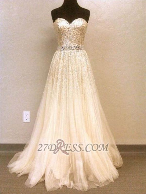 Luxurious Sweetheart Sleeveless Long Evening Dress With Beadings And Sequins