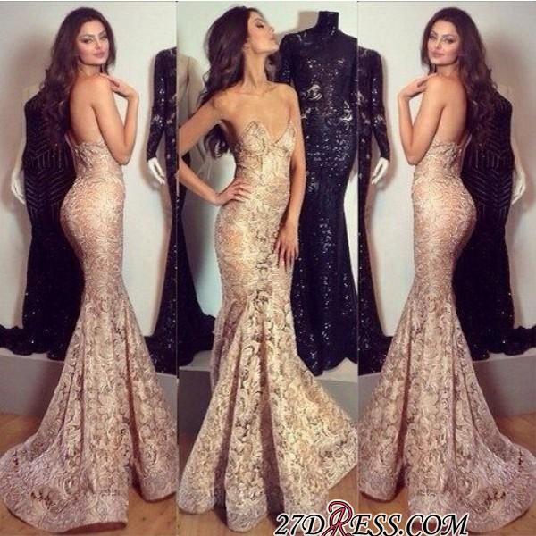 Mermaid Champagne Sweetheart-Neck Sexy Lace Evening Gowns
