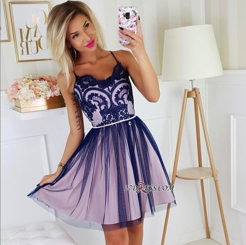 Sexy A-line Appliques Short Spaghetti-Straps Homecoming Dresses