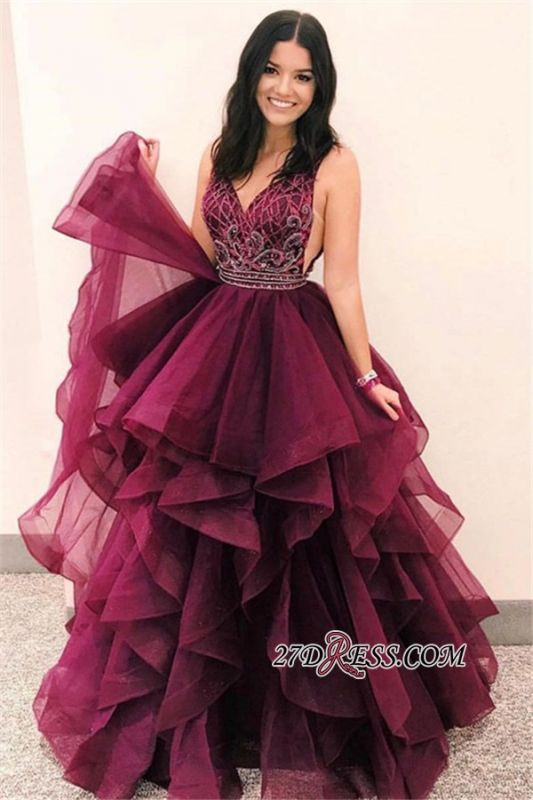 Layers V-Neck Sleeveless Burgundy Gorgeous Prom Gowns