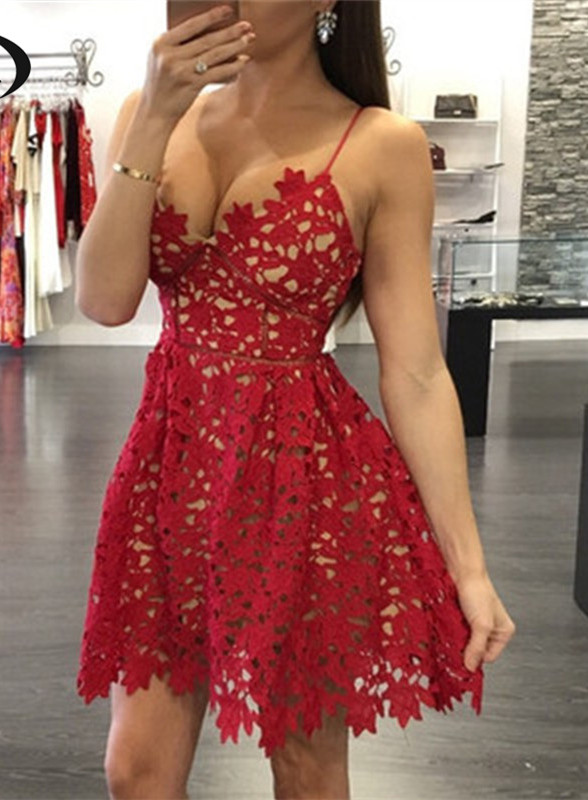 Sexy Red Lace 2020 Homecoming Dress Short Spaghetti Strap Party Gowns