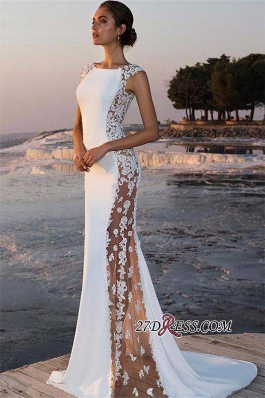 Sexy White See-Through Mermaid Prom Dresses | Scoop Cap Sleeves Lace Appliques Evening Dresses bc0599