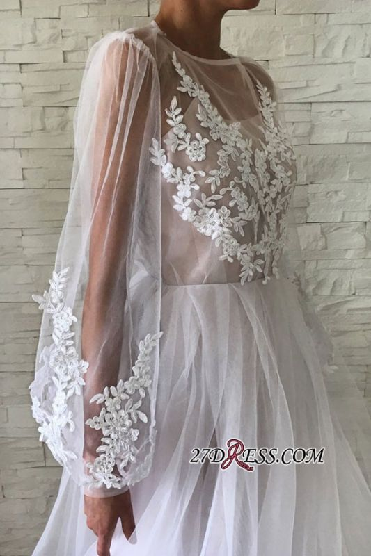 Applique A-line Jewel Flare-long-sleeve With-slip Wedding Dress
