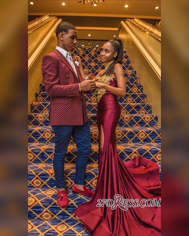 Burgundy High-Neck Appliques Mermaid Evening Gown | Sexy Sleeveless Prom Dress