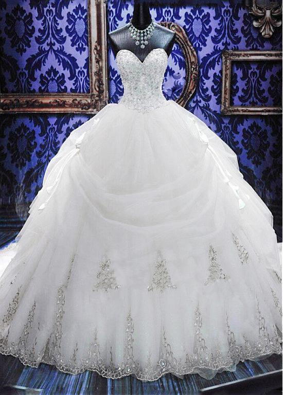 Gorgeous Ball Gown Beadings Wedding Dress 2020 Court Train Bowknot