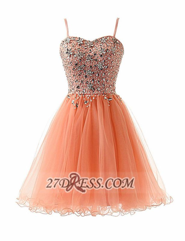 Glamorous Sweetheart Sleeveless Short Homecoming Dress Spaghetti Strap Beadings Crystals Tulle Cocktail Gown
