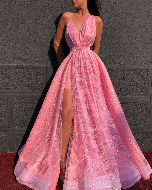 Beautiful Hot Pink V-Neck Evening Dress   2020 Slit Prom Gown On Sale BC4051