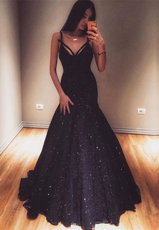 Glamorous V-Neck Mermaid Evening Gowns 2020 Sequins Prom Dresses On Sale
