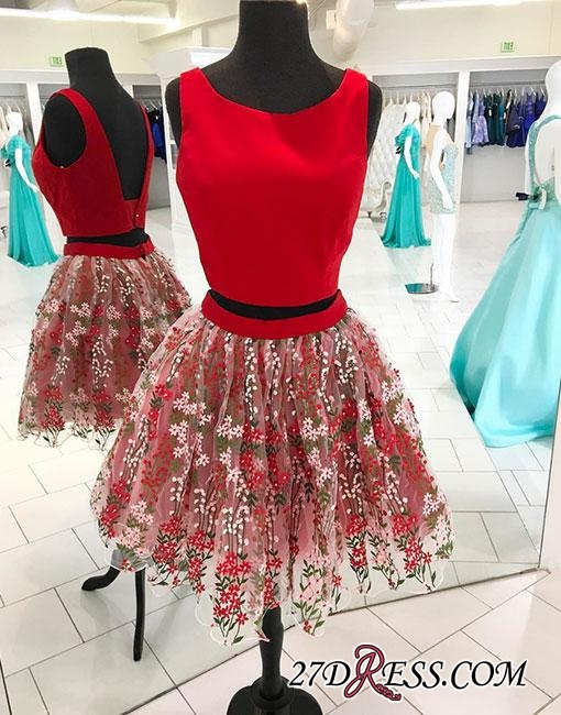 two-pieces Flowers Red Short A-line Backless Tulle Homecoming Dress