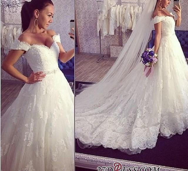 2020 Ball-Gown Off-the-shoulder Tulle Delicate Train Lace Wedding Dress