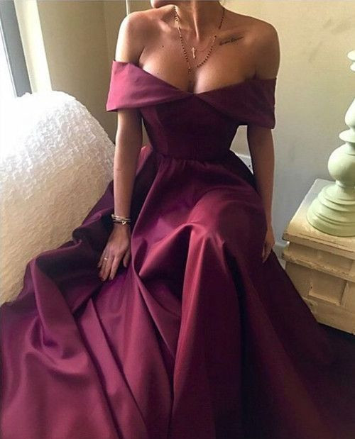 Elegant Burgundy Prom Dress 2020 Off-the-Shoulder Party Gowns BA7835