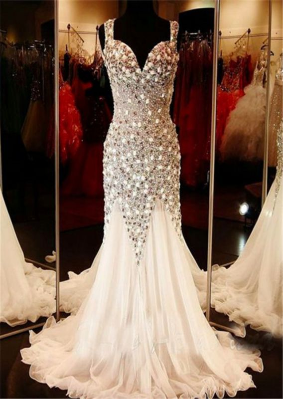Glamorous V-neck Tulle Evening Dress Beadings Crystals Sweep Train BA9453