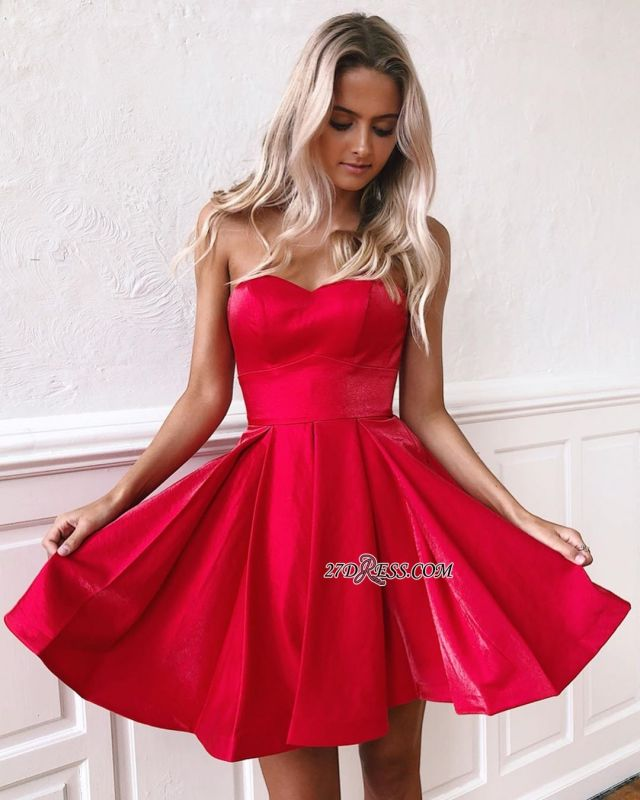 Gorgeous Sleeveless A-line Sweetheart Strapless Homecoming Dresses