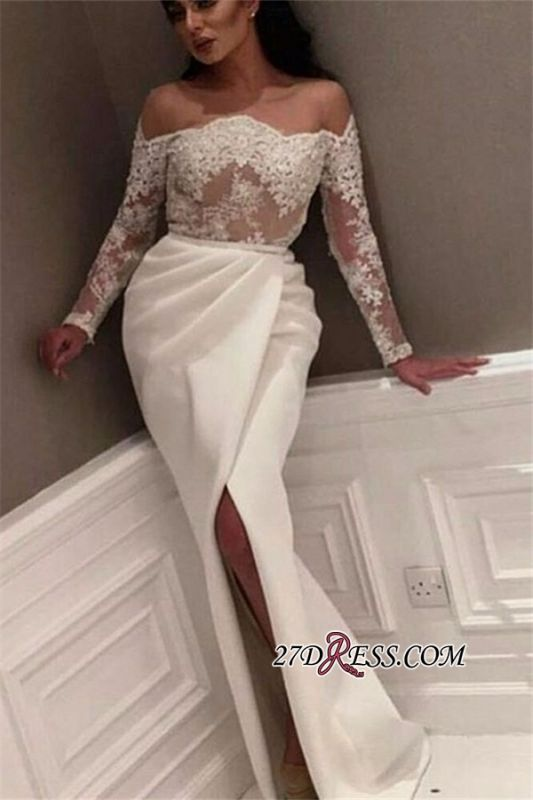 White Off-the-Shoulder Long Sleeve Prom Dress   2020 Lace Prom Dress With Slit