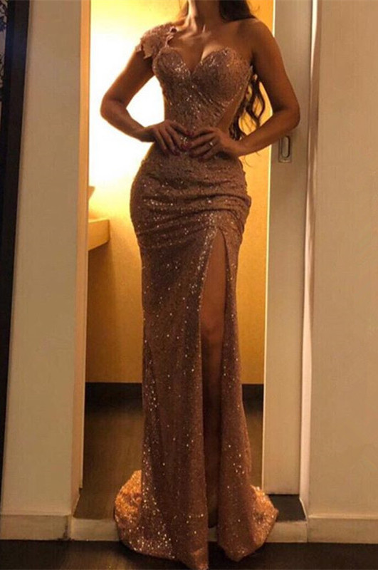 Glamorous One Shoulder Evening Gowns   2020 Mermaid Sequins Prom Dresses BC0753