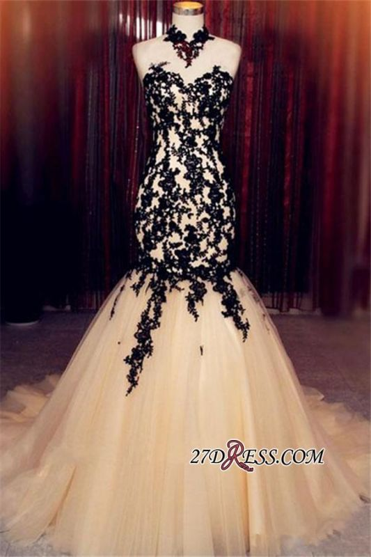 Champagne Sleeveless Mermaid Black High-Neck Lace Tulle Evening Dress BA8175