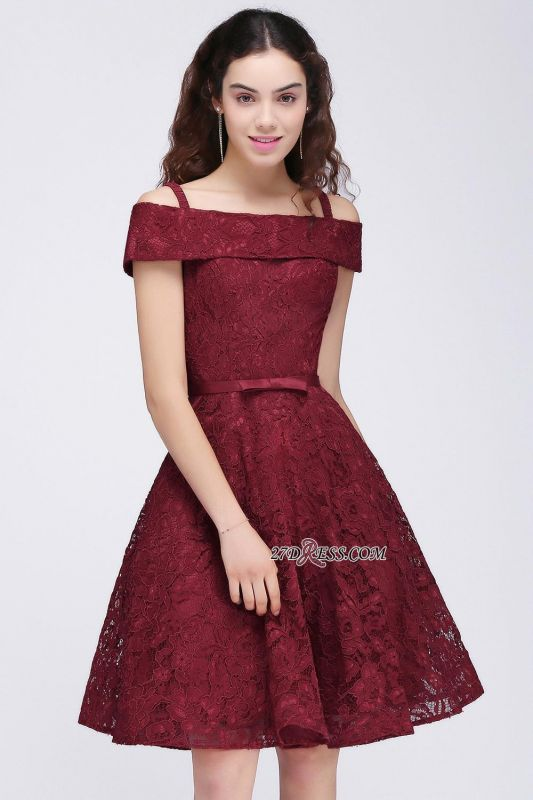 Off-the-Shoulder Lace Burgundy Simple A-Line Homecoming Dress