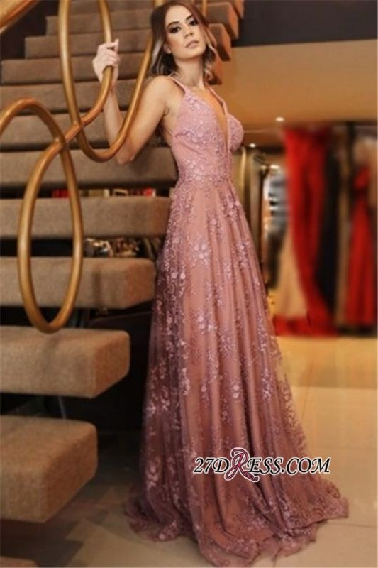 Spaghetti-Straps Backless Appliques Pink Sexy Lace Evening Dresses