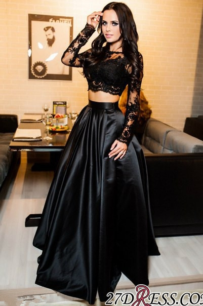 Two-Piece A-line Modern Long-Sleeve Black Lace Prom Dress BA7643