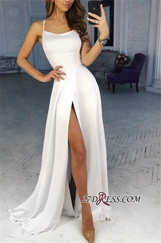 Side-Split Sleeveless Brilliant Spaghetti-Straps Sheath Prom Dresses